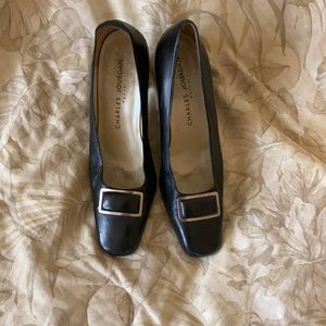CHARLES JOURDAN Black Leather Heels.